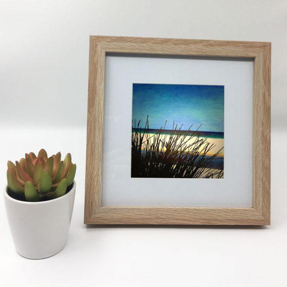 MollymookBeach-framed-wall-art-photography-art-brown-frame-situ